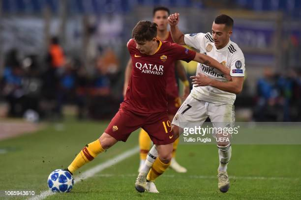 Ante Coric of Roma and Lucas Vazquez of Real Madrid compete for the ball during the Group G match of the UEFA Champions League between AS Roma and...