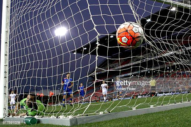 Ante Covic of Perth Glory concedes a goal during the round 25 ALeague match between the Newcastle Jets and the Perth Glory at Hunter Stadium on March...