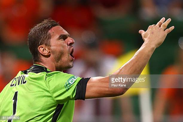 Ante Covic of the Glory shows Referee Strebre Delovski his dislocated finger during the round 20 ALeague match between the Perth Glory and Brisbane...