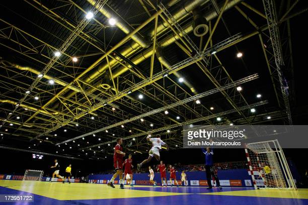 Ante Javor of Croatia shoots as Goal keeper Tobias Skuggedal Hansen of Norway during the boys Handball match between Norway and Croatia on Day 3 of...