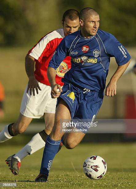 Ante Kovacevic of South Melbourne in action during the round 19 NSL match between the South Melbourne and Sydney United at the Bob Jane Stadium...