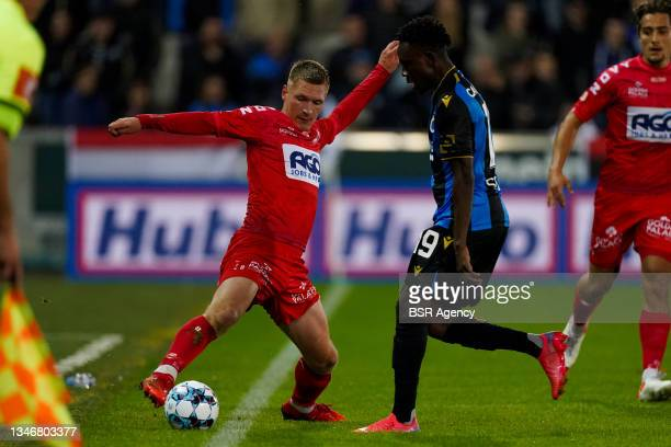 Ante Palaversa of KV Kortrijk during the Jupiler Pro League match between Club Brugge and KV Kortrijk at Jan Breydelstadion on October 15, 2021 in...