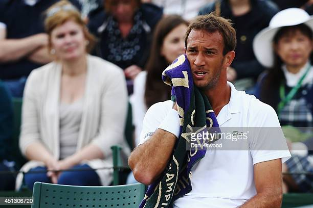Ante Pavic of Croatia during his Gentlemen's Singles second round match against Feliciano Lopez of Spain on day five of the Wimbledon Lawn Tennis...