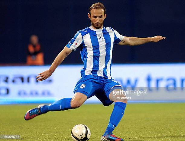 Ante Puljic of NK Lokomotiva Zagreb in action during the Croatian Cup Final Second Leg match between NK Lokomotiva Zagreb and HNK Hajduk Split held...