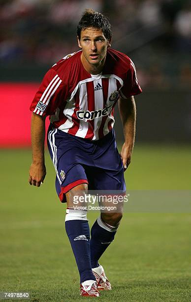 Ante Razov of Chivas USA looks to time his run to the goal on a corner kick during their MLS match against the New England Revolution at the Home...