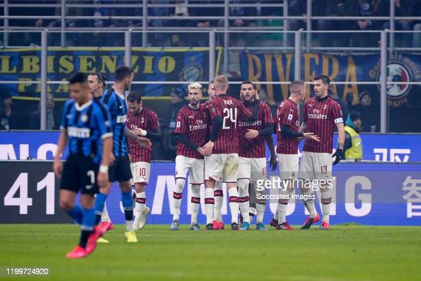 Ante Rebic of AC Milan celebrates 01 with Hakan Calhanoglu of AC Milan Simon Kjaer of AC Milan Theo Hernandez of AC Milan Alessio Romagnoli of AC...