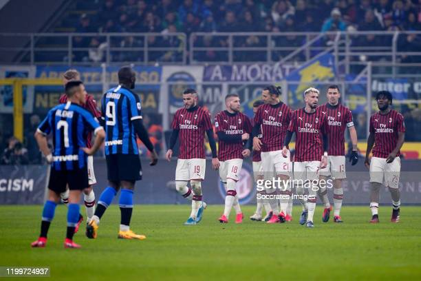 Ante Rebic of AC Milan celebrates 01 with Theo Hernandez of AC Milan Zlatan Ibrahimovic of AC Milan Samuel Castillejo of AC Milan Alessio Romagnoli...