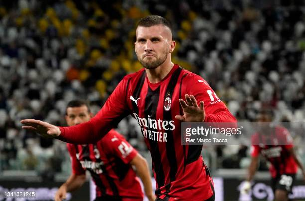 Ante Rebic of AC Milan celebrates after coring their side' during the Serie A match between Juventus and AC Milan at the Allianz Stadium in Turin,...