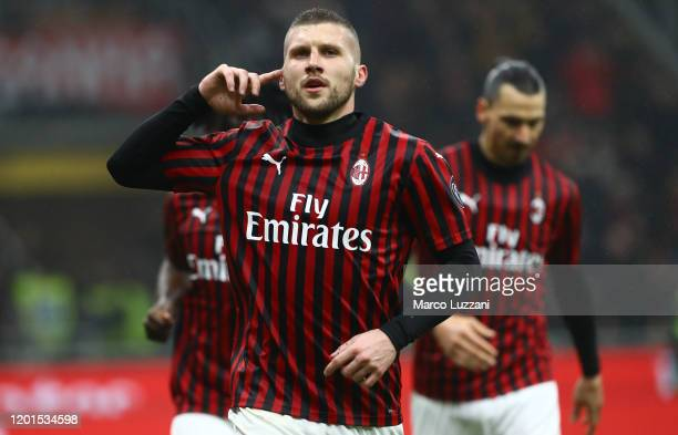 Ante Rebic of AC Milan celebrates after scoring the opening goal during the Serie A match between AC Milan and Torino FC at Stadio Giuseppe Meazza on...