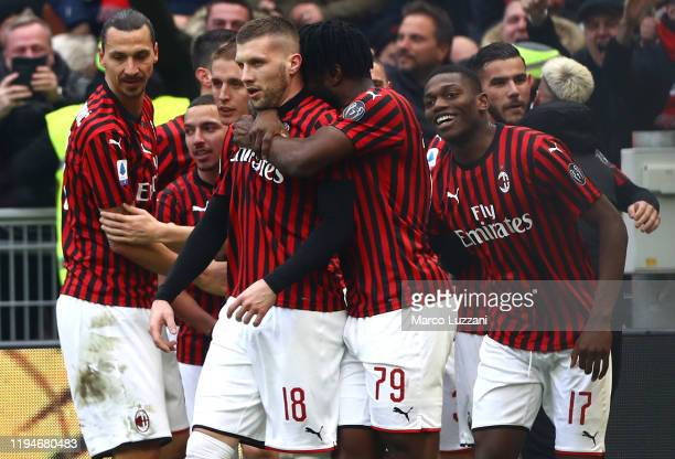 Ante Rebic of AC Milan celebrates his second goal with his teammates during the Serie A match between AC Milan and Udinese Calcio at Stadio Giuseppe...