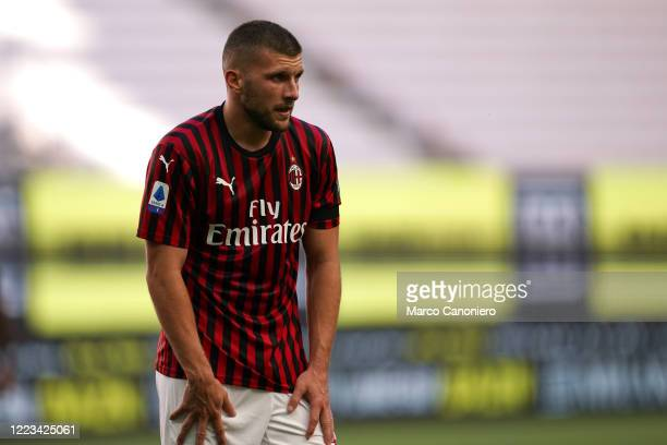 Ante Rebic of Ac Milan during the Serie A match between Ac Milan and As Roma. Ac Milan wins 2-0 over As Roma.