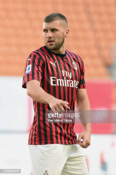 Ante Rebic of AC Milan gestures during the Serie A match between AC Milan and AS Roma at Stadio Giuseppe Meazza on June 28 2020 in Milan Italy