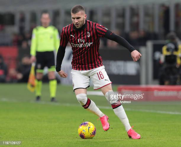 Ante Rebic of AC Milan in action during the Coppa Italia Quarter Final match between AC Milan and Torino at San Siro on January 28 2020 in Milan Italy
