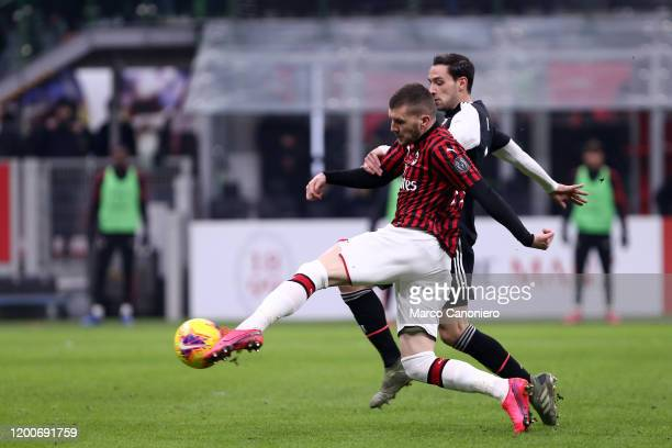Ante Rebic of Ac Milan in action during the Coppa Italia semifinal first leg match between Ac Milan and Juventus Fc The match end in a tie 11