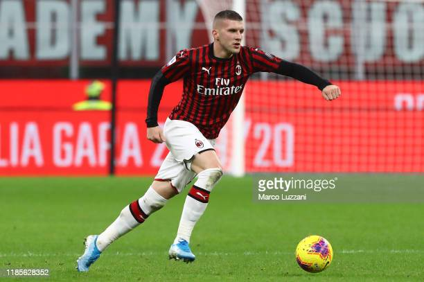 Ante Rebic of AC Milan in action during the Serie A match between AC Milan and SS Lazio at Stadio Giuseppe Meazza on November 3 2019 in Milan Italy