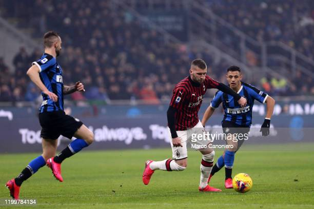 Ante Rebic of Ac Milan in action during the the Serie A match between Fc Internazionale and Ac Milan. Fc Internazionale wins 4-2 over Ac Milan.