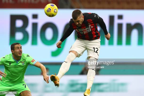 Ante Rebic of AC Milan scores their sides first goal during the Serie A match between AC Milan and SS Lazio at Stadio Giuseppe Meazza on December 23,...