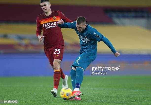 Ante Rebic of AC Milan scores their side's second goal during the Serie A match between AS Roma and AC Milan at Stadio Olimpico on February 28, 2021...