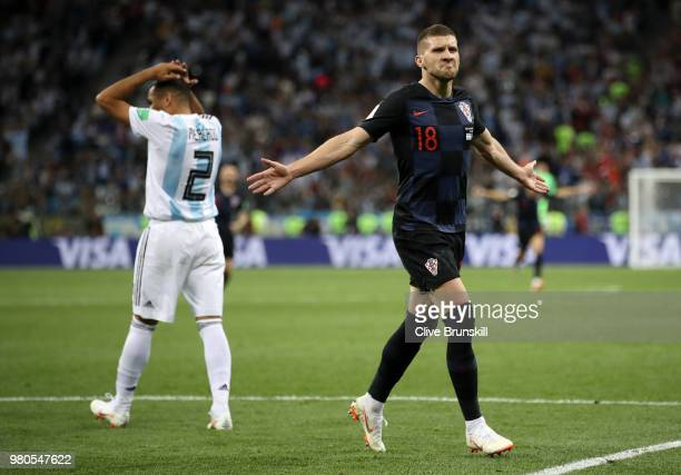 Ante Rebic of Croatia celebrates after scoring his team's first goal during the 2018 FIFA World Cup Russia group D match between Argentina and...