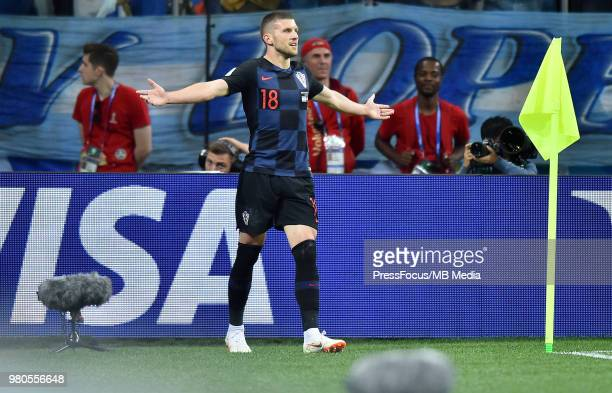 Ante Rebic of Croatia celebrates scoring a goal during the 2018 FIFA World Cup Russia group D match between Argentina and Croatia at Nizhniy Novgorod...