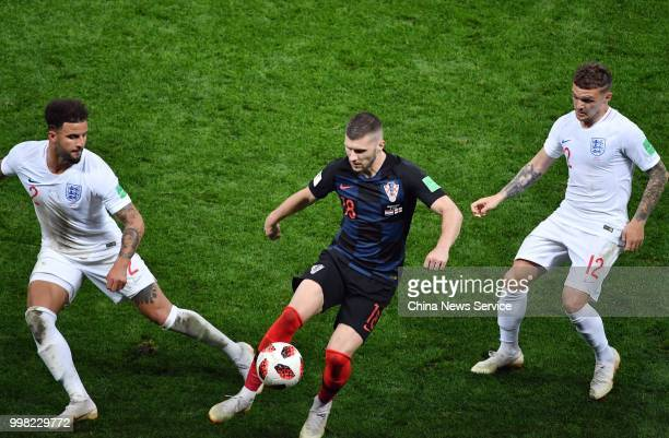 Ante Rebic of Croatia controls the ball during the 2018 FIFA World Cup Russia semi final match between Croatia and England at the Luzhniki Stadium on...