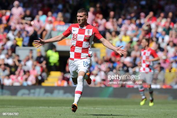 Ante Rebic of Croatia during the International friendly match between Croatia and Brazil at Anfield on June 3 2018 in Liverpool England