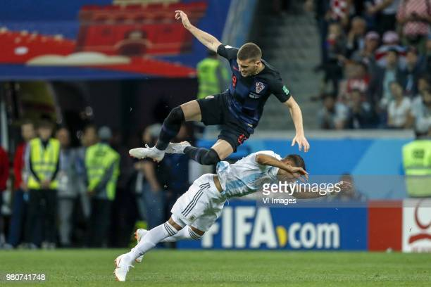 Ante Rebic of Croatia Gabriel Mercado of Argentina during the 2018 FIFA World Cup Russia group D match between Argentina and Croatia at the Novgorod...