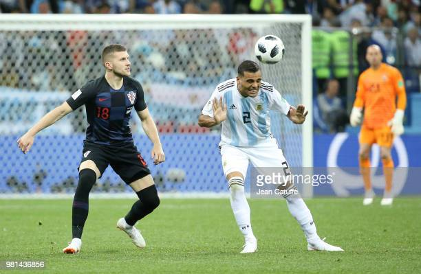 Ante Rebic of Croatia Gabriel Mercado of Argentina during the 2018 FIFA World Cup Russia group D match between Argentina and Croatia at Nizhniy...