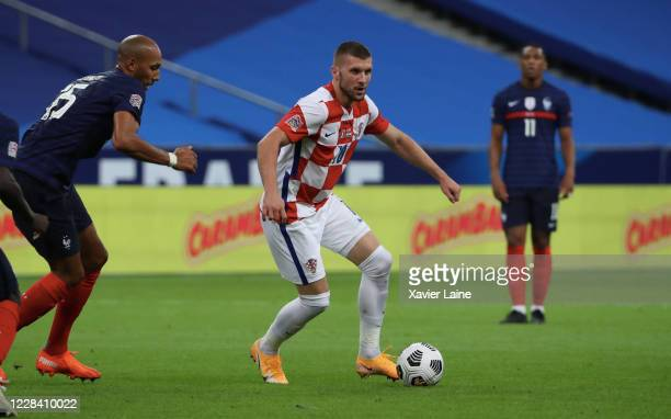 Ante Rebic of Croatia in action during the UEFA Nations League group stage match between France and Croatia at Stade de France on September 8 2020 in...