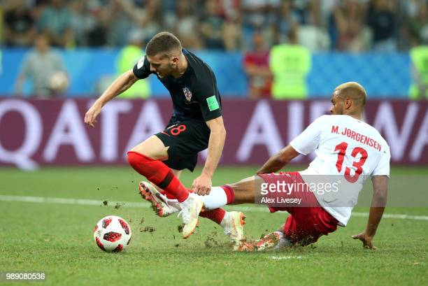 Ante Rebic of Croatia is fouled inside to gain a penalty during the 2018 FIFA World Cup Russia Round of 16 match between Croatia and Denmark at...