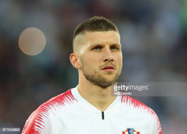 Ante Rebic of Croatia lines up prior to the 2018 FIFA World Cup Russia group D match between Croatia and Nigeria at Kaliningrad Stadium on June 16...