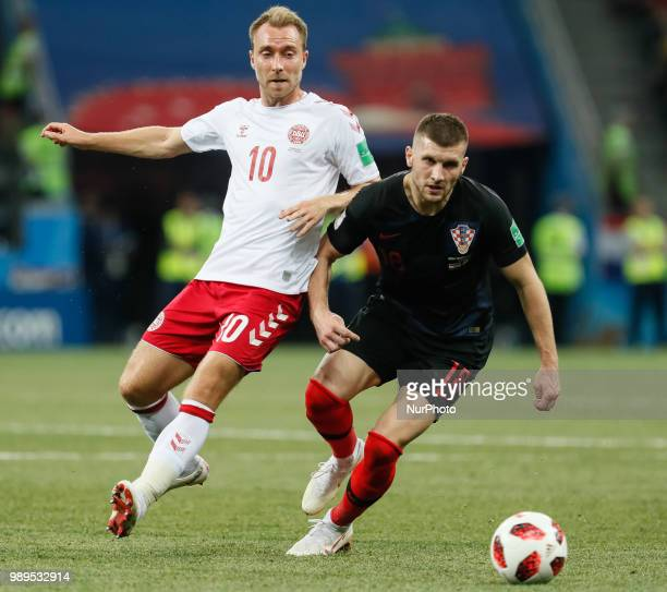 Ante Rebic of Croatia national team and Christian Eriksen of Denmark national team vie for the ball during the 2018 FIFA World Cup Russia Round of 16...