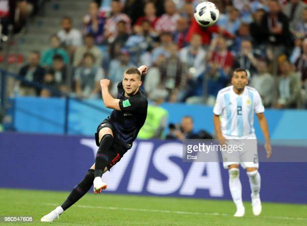 Ante Rebic of Croatia scores his team's first goal during the 2018 FIFA World Cup Russia group D match between Argentina and Croatia at Nizhny...