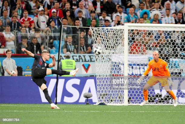Ante Rebic of Croatia scores the opening goal with his team mates during the 2018 FIFA World Cup Russia Group D match between Argentina and Croatia...
