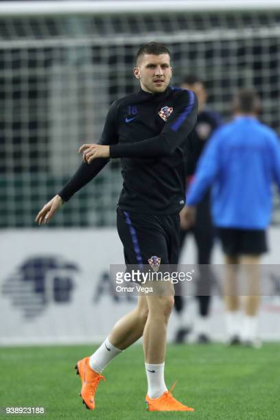 Ante Rebic of Croatia warms up during the Croatia training session ahead of the FIFA friendly match against Mexico at ATT Stadium on March 26 2018 in...