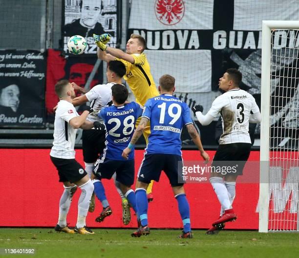 Ante Rebic of Eintracht Frankfurt Carlos Salcedo of Eintracht Frankfurt goalkeeper Lukas Hradecky of FC Schalke 04 Alessandro Schoepf of FC Schalke...