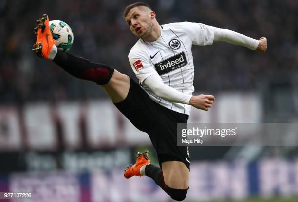 Ante Rebic of Eintracht Frankfurt controls the ball during the Bundesliga match between Eintracht Frankfurt and Hannover 96 at CommerzbankArena on...