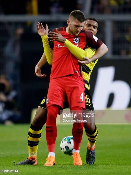 Ante Rebic of Eintracht Frankfurt Manuel Akanji of Borussia Dortmund during the German Bundesliga match between Borussia Dortmund v Eintracht...