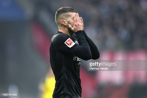 Ante Rebic of Eintracht Frankfurt reacts during the Bundesliga match between Eintracht Frankfurt and Borussia Dortmund at CommerzbankArena on...