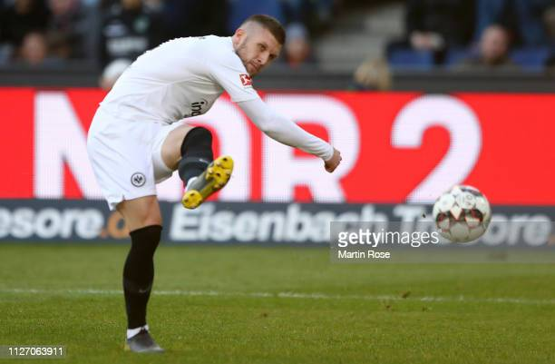 Ante Rebic of Eintracht Frankfurt scores his team's first goal during the Bundesliga match between Hannover 96 and Eintracht Frankfurt at HDIArena on...