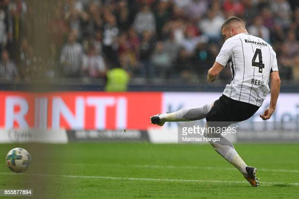 Ante Rebic of Frankfurt about to score his teams first goal to make it 10 during the Bundesliga match between Eintracht Frankfurt and VfB Stuttgart...
