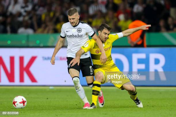 Ante Rebic of Frankfurt and Sokratis of Dortmund battle for the ball during the DFB Cup final match between Eintracht Frankfurt and Borussia Dortmund...
