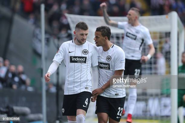 Ante Rebic of Frankfurt celebrates after he scored a goal to make it 1:0, with Timothy Chandler of Frankfurt , during the Bundesliga match between...