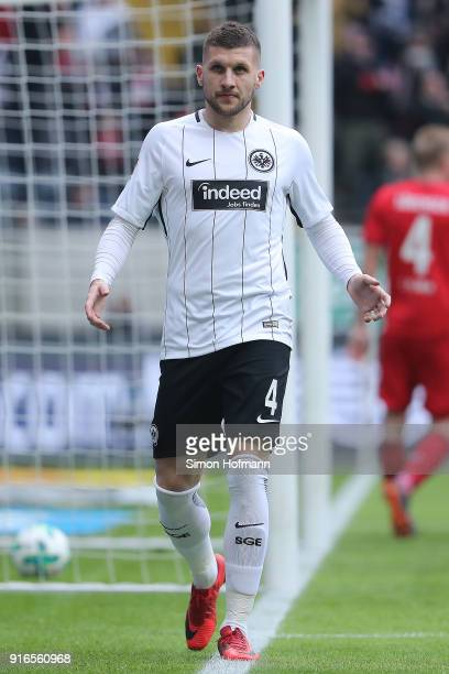 Ante Rebic of Frankfurt celebrates after he scored a goal to make it 10 during the Bundesliga match between Eintracht Frankfurt and 1 FC Koeln at...