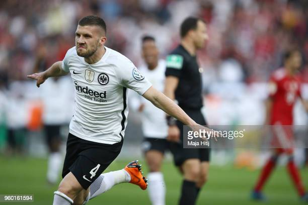 Ante Rebic of Frankfurt celebrates after he scored a goal to make it 01 during the DFB Cup final between Bayern Muenchen and Eintracht Frankfurt at...