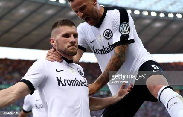 Ante Rebic of Frankfurt celebrates after scoring his team's first goal during the DFB Cup final match between Eintracht Frankfurt and Borussia...
