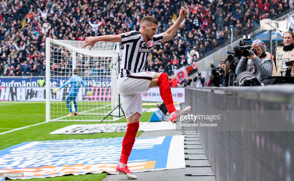 Ante Rebic of Frankfurt celebrates the third goal for his team during the Bundesliga match between Eintracht Frankfurt and FC Augsburg at Commerzbank-Arena on April 22, 2017 in Frankfurt am Main, Germany.