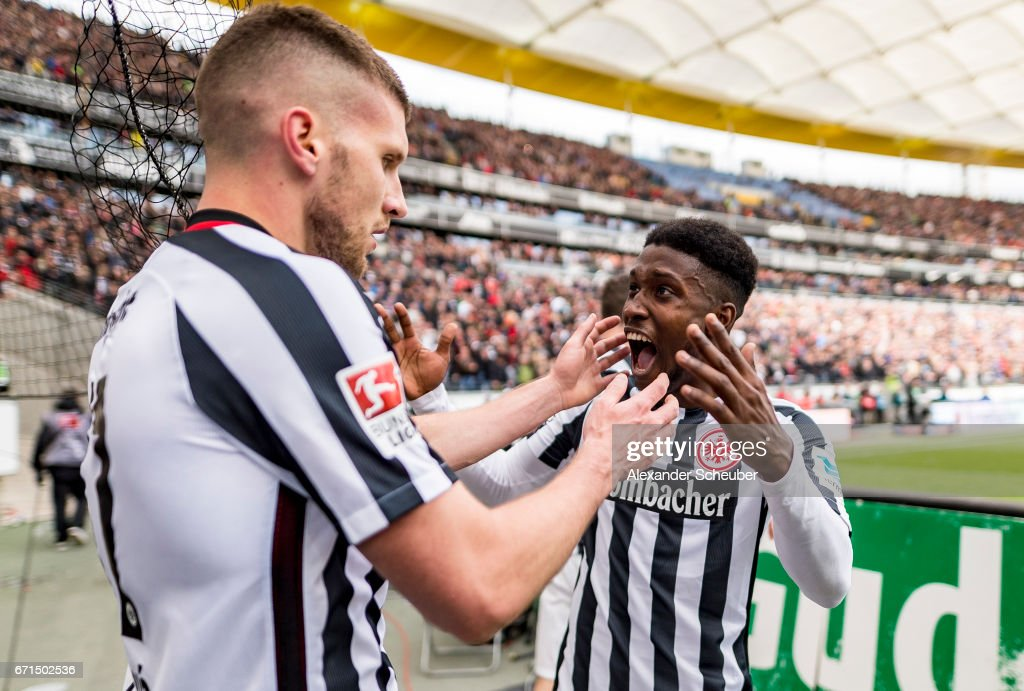 Ante Rebic of Frankfurt celebrates the third goal for his team with his teammate during the Bundesliga match between Eintracht Frankfurt and FC Augsburg at Commerzbank-Arena on April 22, 2017 in Frankfurt am Main, Germany.