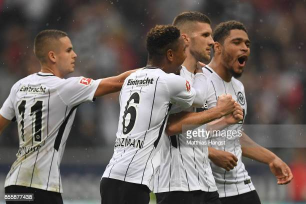 Ante Rebic of Frankfurt celebrates with team mates after he scored to make it 10 during the Bundesliga match between Eintracht Frankfurt and VfB...