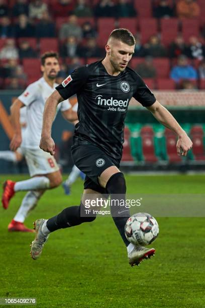 Ante Rebic of Frankfurt controls the ball during the Bundesliga match between FC Augsburg and Eintracht Frankfurt at WWKArena on November 24 2018 in...
